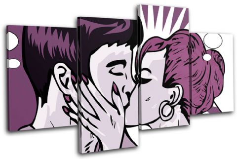 Retro Pop Art Kissing Purple Love - 13-0179(00B)-MP04-LO
